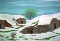 Albero con neve di primavera